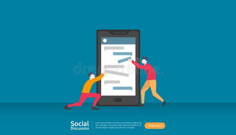netwerk voor sociale media-conversatie De dialoog van het praatje belletjes communicatie personage gemeenschap chatten online nie royalty-vrije illustratie