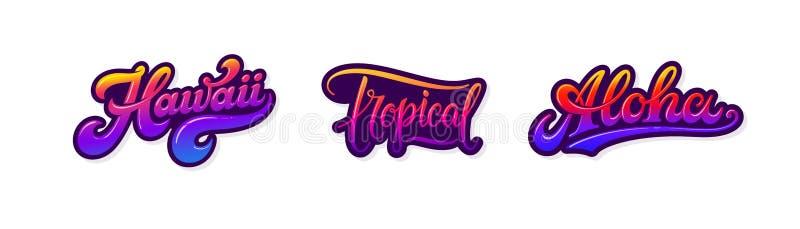Hawaii, tropische, Aloha-Retro-Etiketten auf weißem Grund isoliert Sommertexte und Wörter Retrosa und violett lizenzfreie abbildung