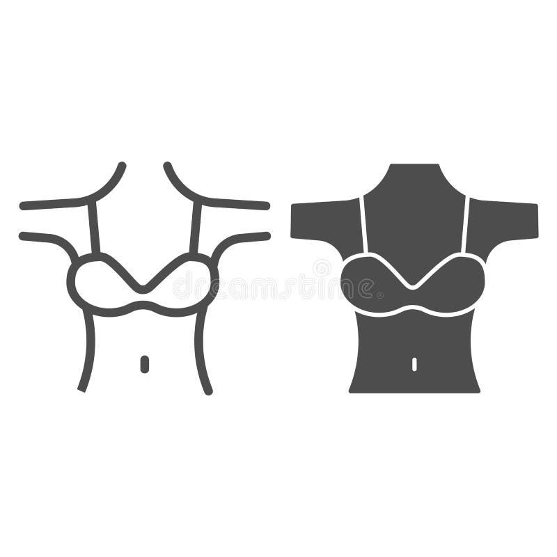 Damendecollete Linie und Glypensymbol Mädchen Figur mit BH-Vektorgrafik auf weiß isoliert Skizze stock abbildung