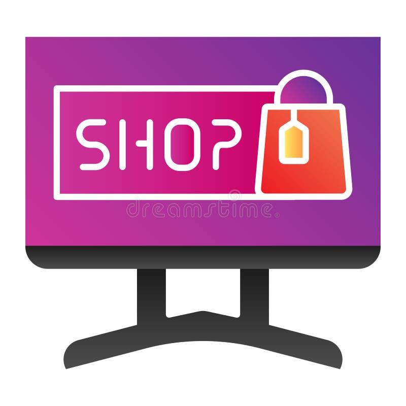 Icône de la plate-forme de magasinage Internet Icônes de couleurs du shopping en ligne dans un style plat branché Conception du s illustration libre de droits