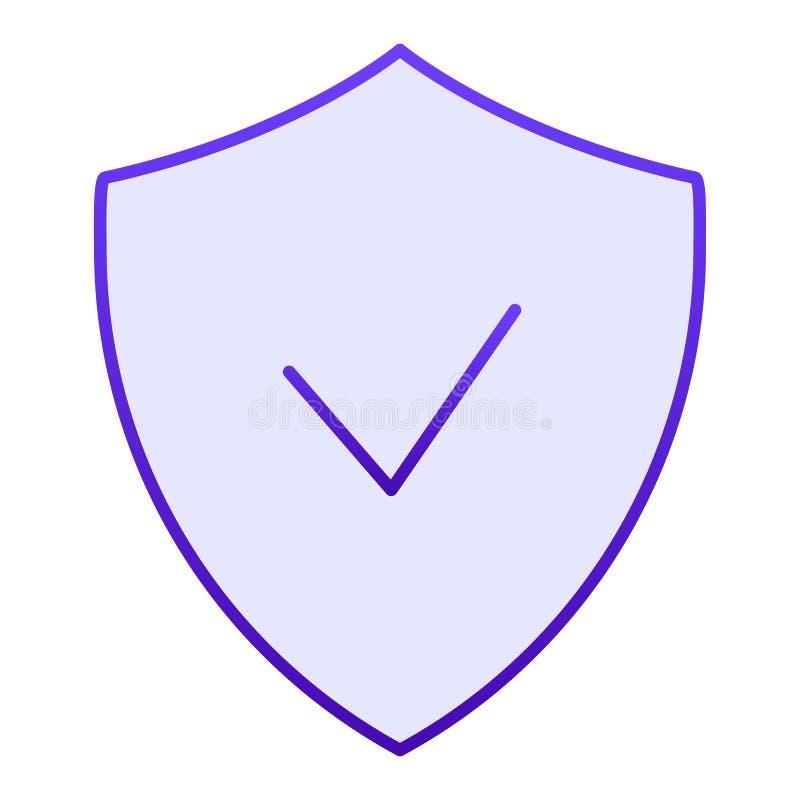 Überprüfte flache Ikone des Emblems Schild mit blauen Ikonen des Häkchens in der modischen flachen Art Garantiesteigungs-Artentwu vektor abbildung