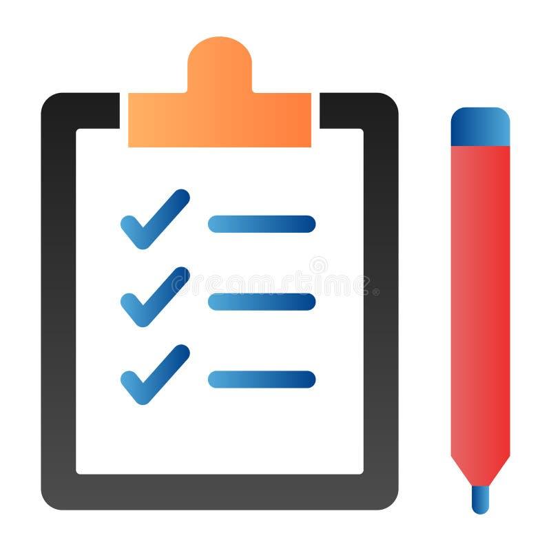 列表和笔平面图标 具有时尚平面样式的笔颜色图标的剪贴板 文档渐变样式设计,设计 向量例证