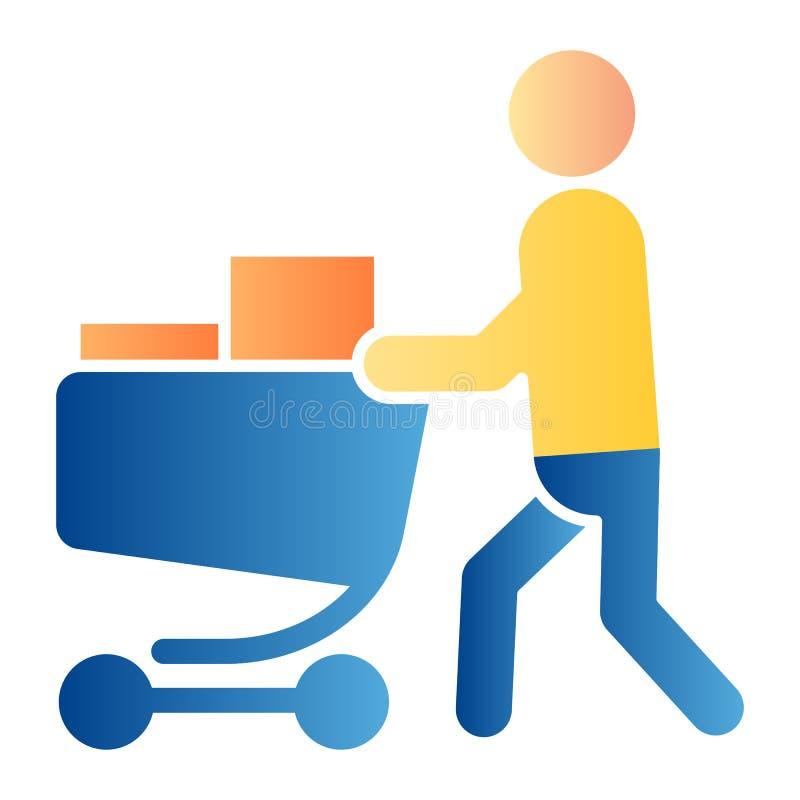 Comprador con icono plano de carro completo Persona con iconos de color de carrito de compras en estilo moderno y plano Gradiente libre illustration