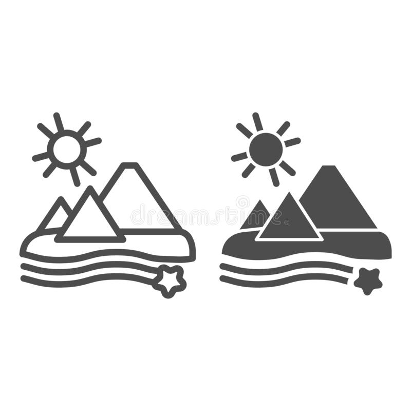 Pyramids linje- och specialtecken Demert-vektorbild isolerad på vitt Egyptens konturstil, utformad för webben vektor illustrationer