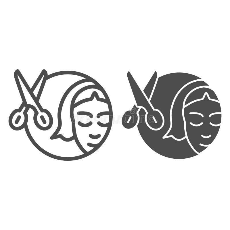 Saxar och ikoner för flicklinje och specialtecken Bild på hårklippsvektor isolerad på vitt Konturformat för staplar vektor illustrationer