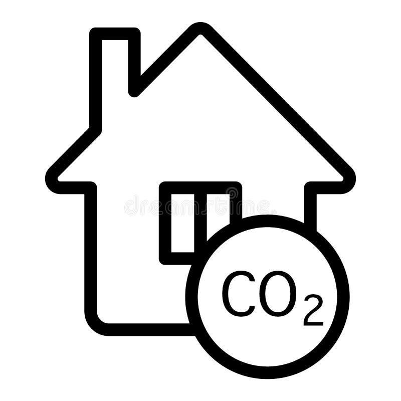 ícone Poluição na linha de casa Ilustração dos gases de escape e domésticos isolada em branco Página inicial com design de estilo ilustração royalty free