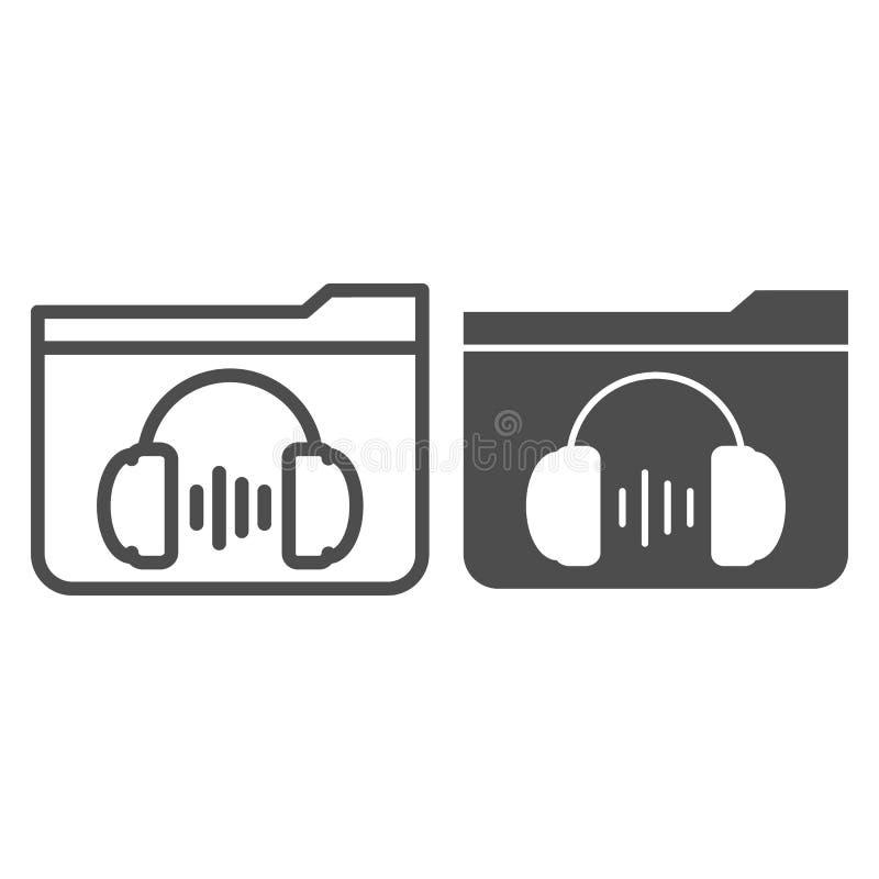 Linia folderu muzyki i ikona glifu Ilustracja wektora nośnika wyizolowana na białym Folder ze stylem konspektu słuchawek royalty ilustracja