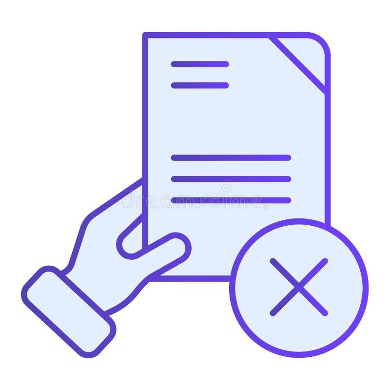 文档失效平面图标 质量控制失败时尚平面风格的蓝色图标 手持纸梯度风格设计 皇族释放例证