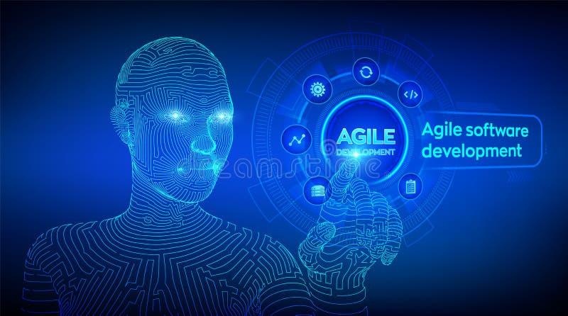 在虚屏上的敏捷软件开发方法概念 数字技术,大数据概念 灵活开发 皇族释放例证