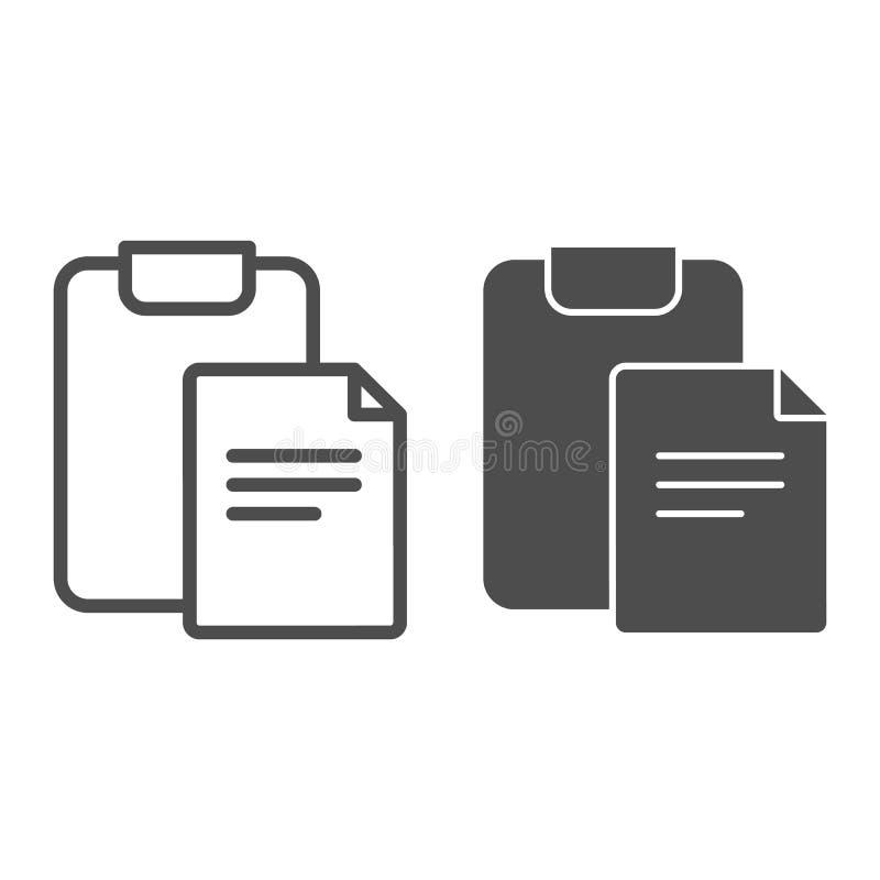有签署线和纵的沟纹象的文件的剪贴板 纸和checkboard在白色隔绝的传染媒介例证 ?? 库存例证