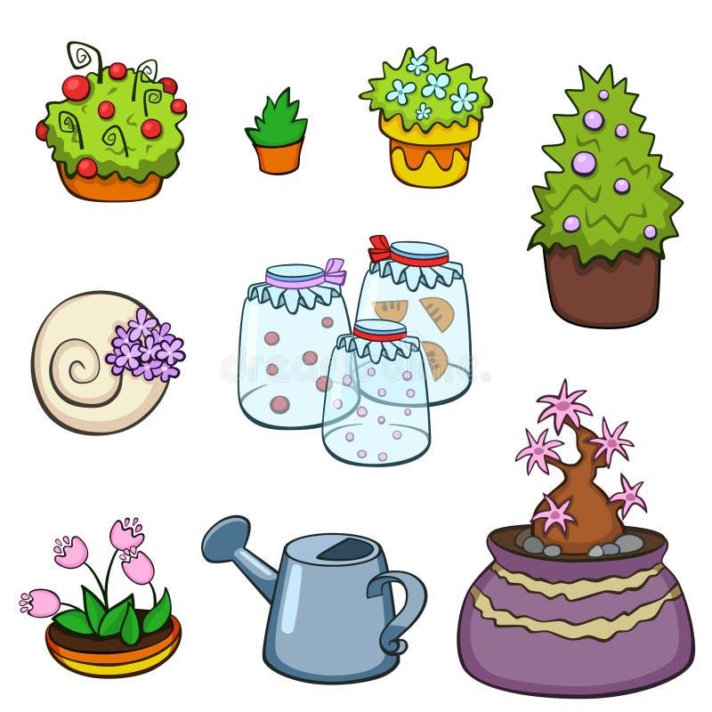 Lagt in arbeta i trädgården växter och beståndsdelar Den inomhus och utomhus- trädgården lade in isolerade växter Grön växt för v stock illustrationer