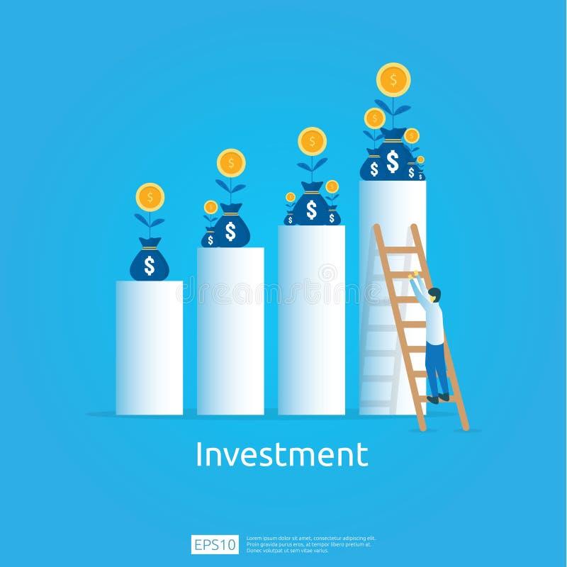 Concetto di business per raggiungere l'obiettivo La visione del ritorno sul capitale investito frecce di crescita per il successo illustrazione di stock