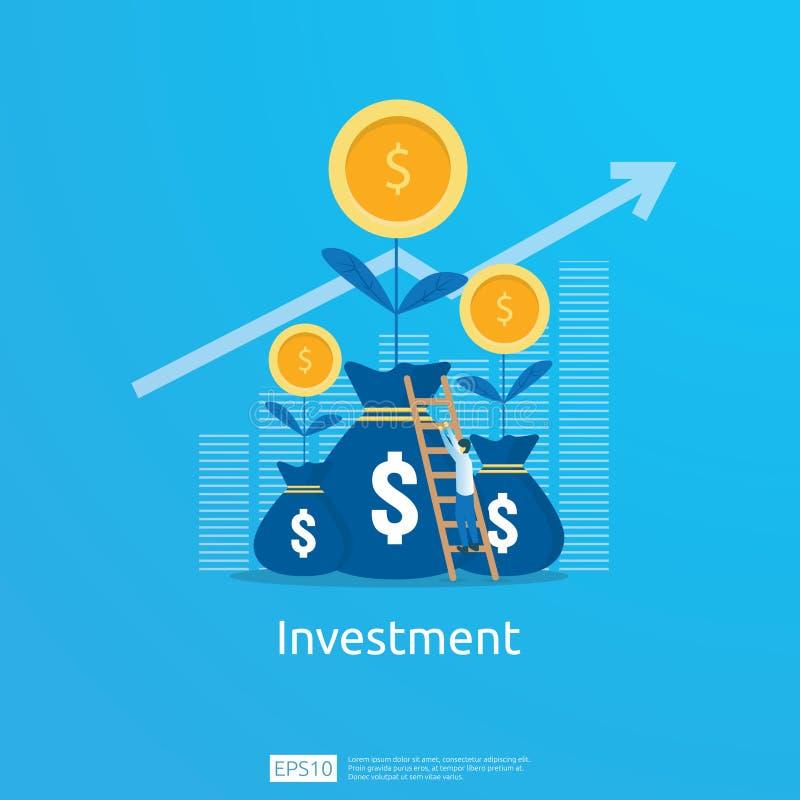 Concetto di business per raggiungere l'obiettivo La visione del ritorno sul capitale investito frecce di crescita per il successo royalty illustrazione gratis