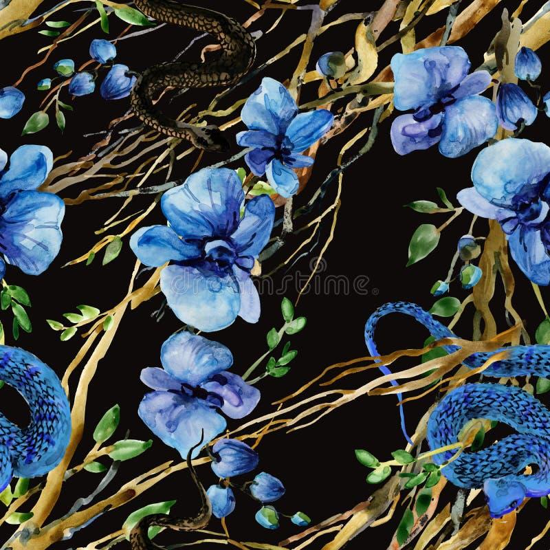 Antecedentes tropicales sin fisuras patrón de jungla de flores ilustración de culebra de color agua fotografía de archivo