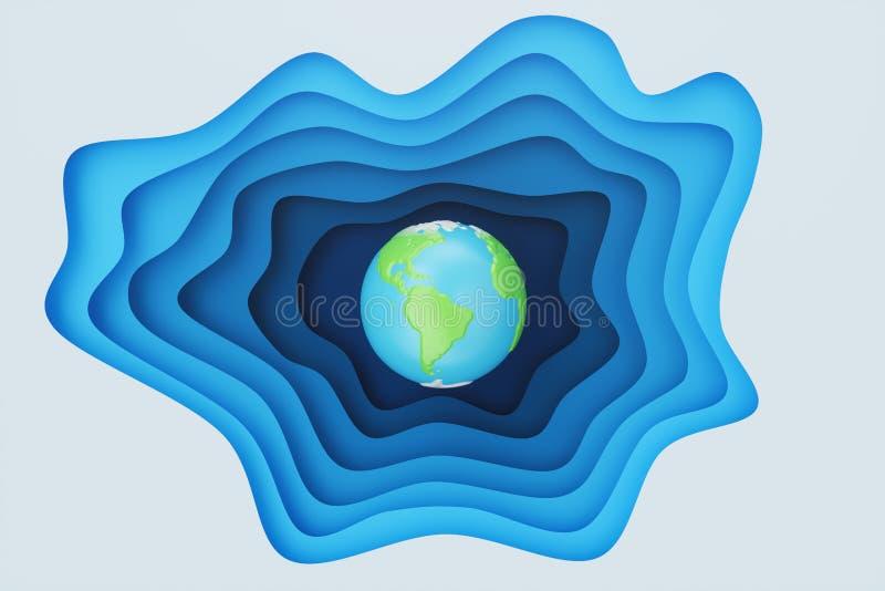 Utdrag av blått papper i bakgrunden med jordkoncept Blå pappersfärgeffekt med jorden i mitten Creative origami stock illustrationer