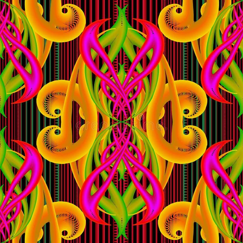 Ljusstark färgstark abstrakt dekorationsvektor 3d sömlös mönsterlös Randig ljusreflekterad bakgrund Upprepa glänsande texturerad vektor illustrationer