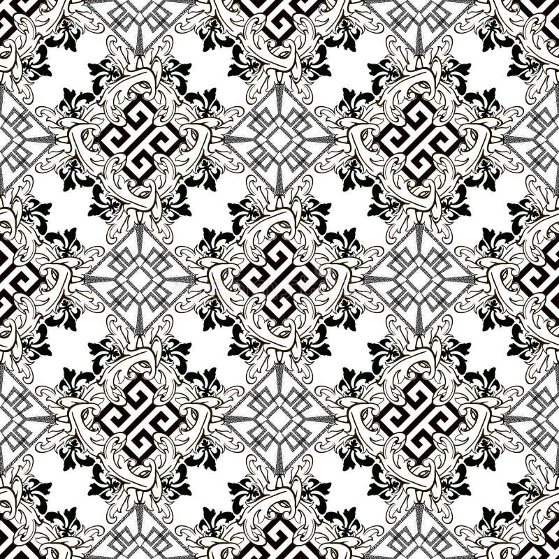 Florence Baroque stijl griek vector naadloos patroon Ornamental zwarte en witte geometrische achtergrond Vintage baroque Victoria royalty-vrije illustratie
