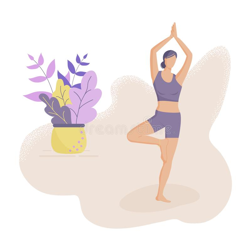 модная концепция фитнес-класса:миленькая девушка, стоящая в позе йоги Стиль рисунков Flat Funky Украшенные красивые листья Вектор иллюстрация штока