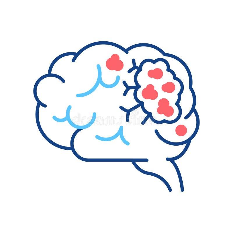 脑癌线颜色图标 人体器官概念 恶性肿瘤 登录网页、移动应用、按钮、徽标 库存例证