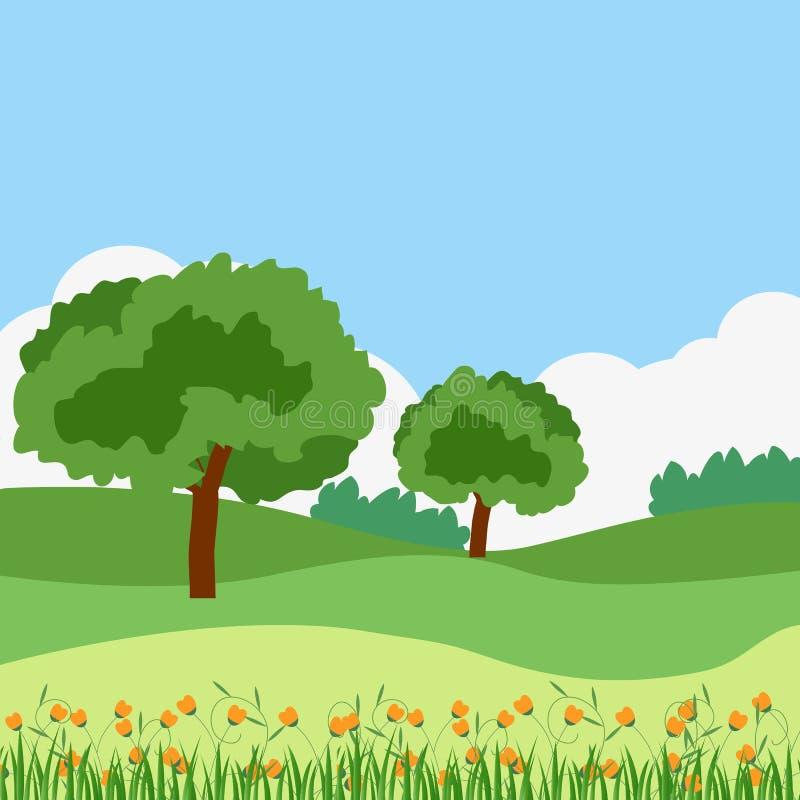 Sencillo paisaje verde de verano, con árboles, arbustos y colinas El cielo y las nubes en el fondo Grasas y flores en stock de ilustración