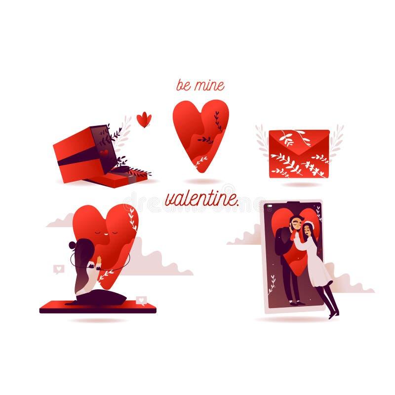 Platta valentinnadag för vektor Små människor och smartphone, en man med kärlekshuggare Platt röd hjärna Hjärtkramkvinnor royaltyfri illustrationer