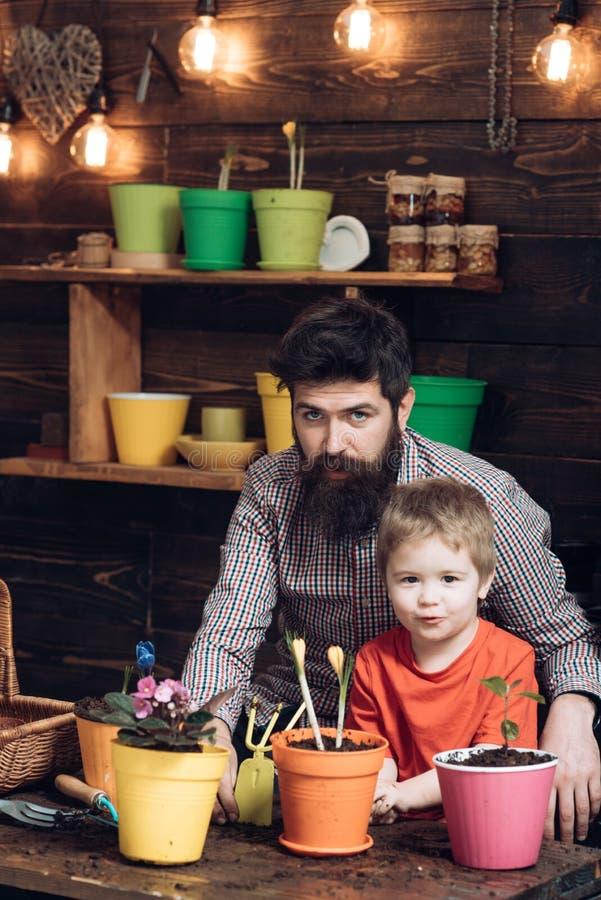 Πατέρας και γιος Ημέρα των πατέρων χαρούμενοι κηπουροί με άνθη από την άνοιξη γενειοφόρος άνδρας και μικρό παιδί αγαπούν τη φύση  στοκ φωτογραφία