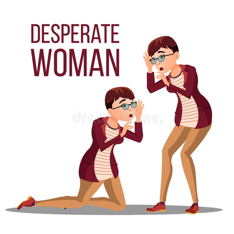 Desperate Woman Vector Stress Desperate Person Woman Girl Scream Anger, Shok Illustratie stock illustratie
