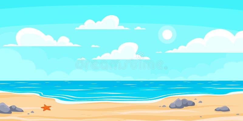 Plage d'été de caricatures Vacances nature paradisiaques, océan ou mer Illustration du fond vectoriel du paysage marin illustration de vecteur