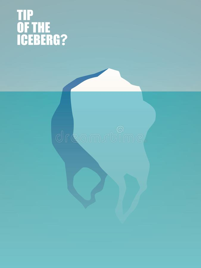 Plast- förlorad förorening i hav- och havsvektorbegrepp Påse som isberget Symbol av den naturliga miljö- katastrofen stock illustrationer