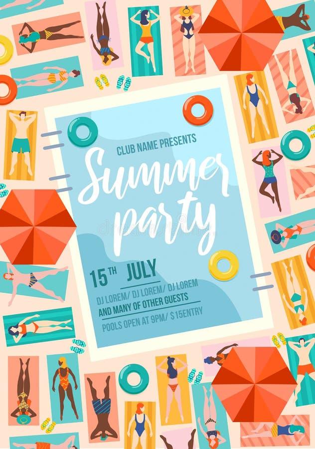 Cartaz da festa de verão com piscina e gente Modelo de venda de verão ou de convite Conceito de viagem de pessoas em férias ilustração do vetor