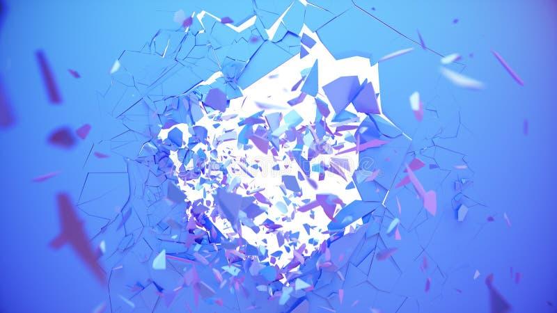 Paredes rotas color pastel oscuro La pared se rompe en miles de pedazos pequeños Fondo destruido abstracto stock de ilustración