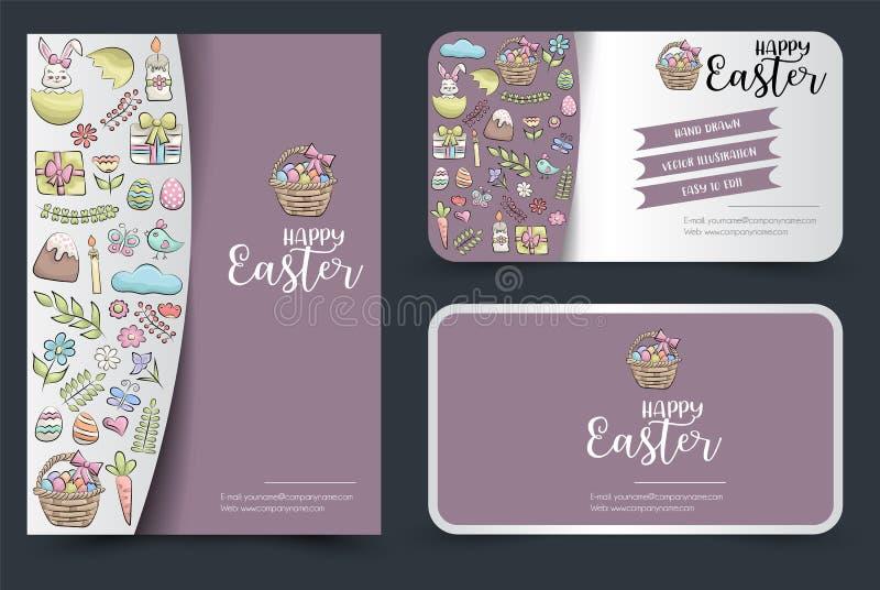 Folleto de Pascua y juego de tarjetas de visita Antecedentes para publicidad, invitación, plantilla de folleto Dibujo a mano de d libre illustration