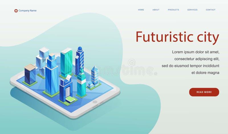 Futuristische stads vectorillustratie Isometrisch ontwerpconcept van voor website en mobiele toepassing Futuristische slimme stad stock illustratie