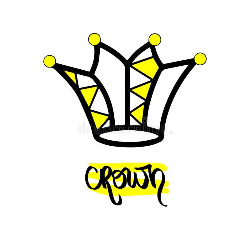 Gelber schwarzer Jester Hat Ikonenkönig-Königintiara des Handgezogenen Symbols stilisierte Kalligraphische handgeschriebene Wort  lizenzfreie abbildung