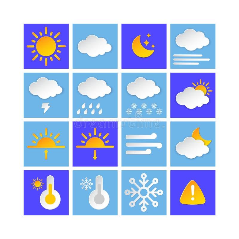 Ikonsamling för väderprognosinformation, lagerstil Klimatfaktorer Modern knapp för Metcast WF-rapport, meteo royaltyfri illustrationer