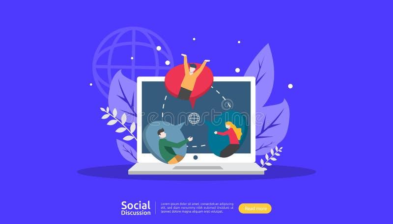 social media Dialogo chat bolle comunicazioni personaggi delle persone chat community online discussione sulle notizie illustrazione vettoriale