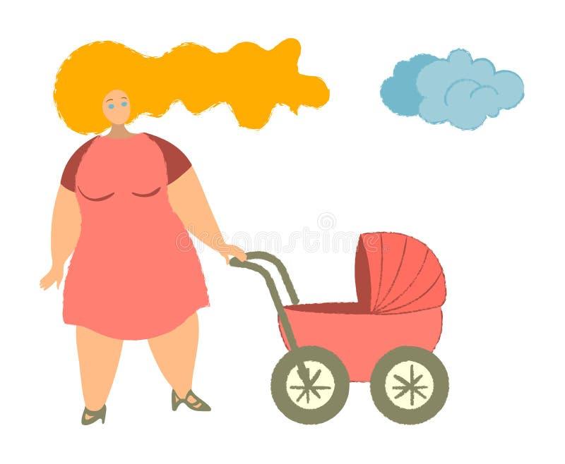 Madre con ilustración vectorial de carro de bebé Mamá con recién nacido en Pram Mujer con un niño caminando en un parque libre illustration