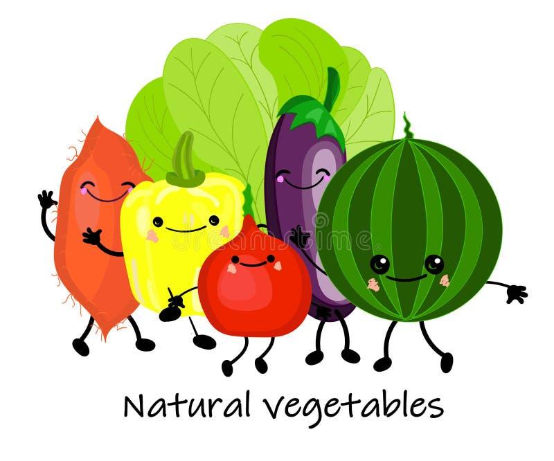 En rolig samling av växttecknad filmtecken Vektorgrönsakisolater Ställ in av olika gulliga lyckliga grönsaktecken stock illustrationer