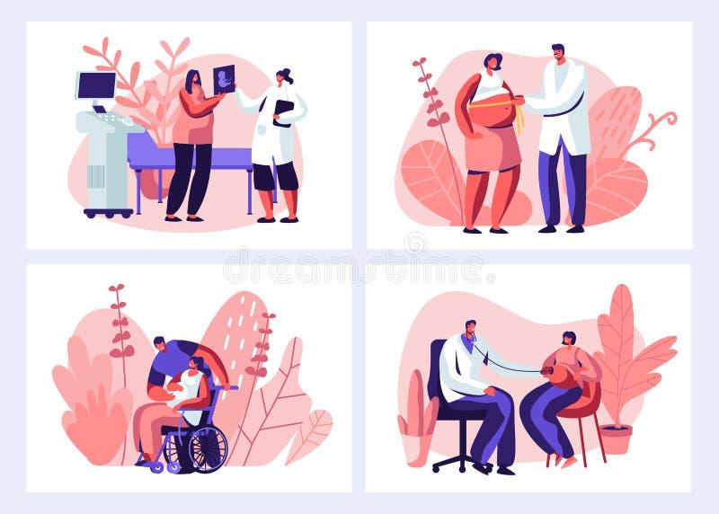Gravida kvinnor vid läkarbesök i kliniskt set Manlig doktor som utför medicinsk kontroll Hälsosam graviditet, hälsovård royaltyfri illustrationer