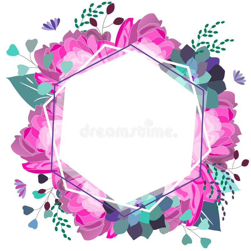 Romantico floreale di vettore, rosa e composizione porpora Fiori d'avanguardia, succulente, foglie, pianta Estate, molla, progett fotografia stock