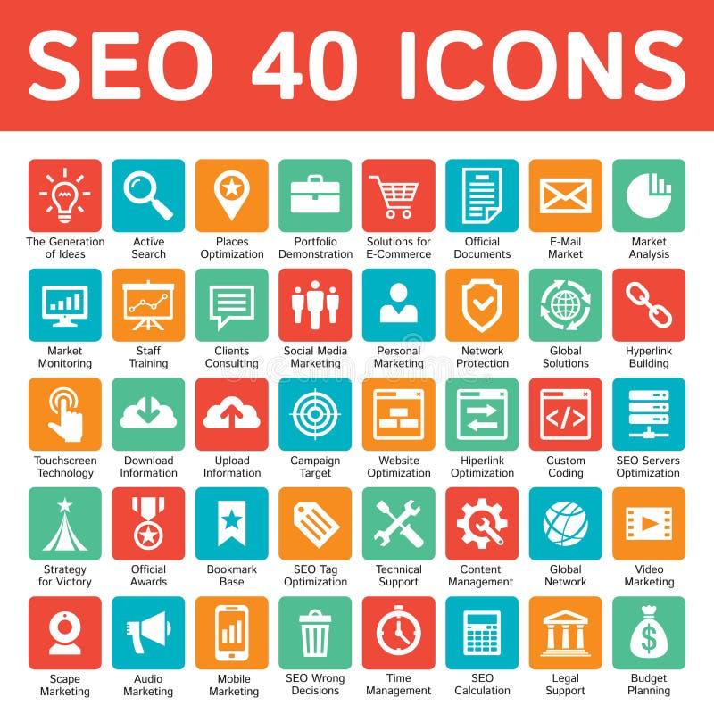 De pictogrammenontwerpset van SEO 40 Zoekmachineoptimalisering - concepten vectorteken voor presentatie, website, brochure Reclam royalty-vrije illustratie