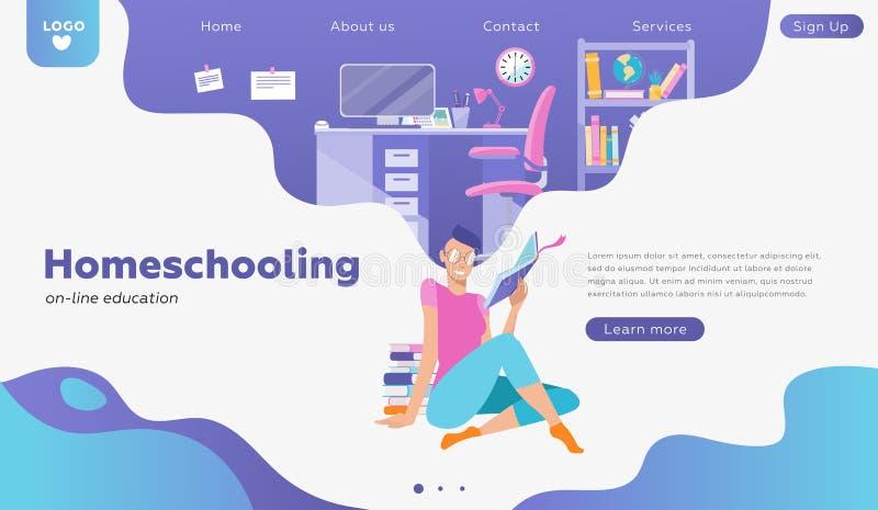 Studentincharakterstudie online Für Netzfahne, infographics, Heldbilder verwenden, kann die Landung Leute, die zu Hause interi st stock abbildung