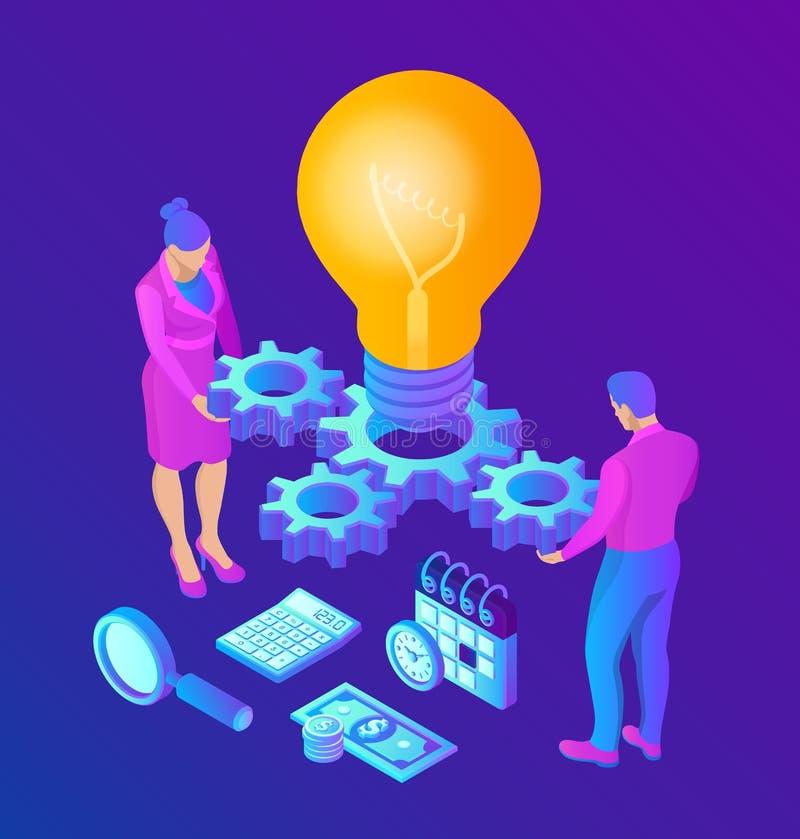 创意 等轴概念 带齿轮的灯泡 团队合作、合作、伙伴关系的商业概念 向量例证