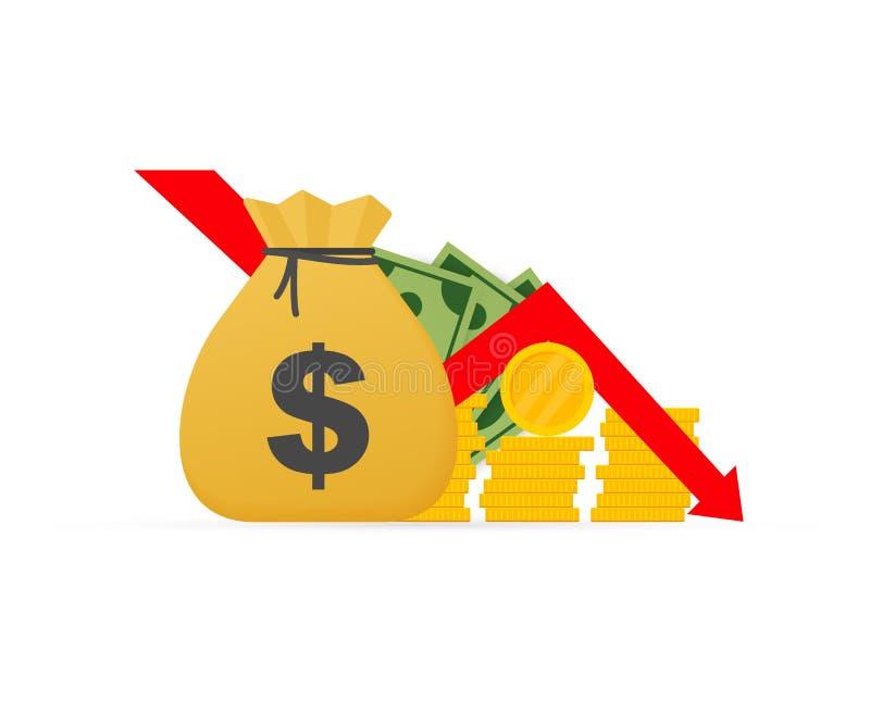 货币损失 用下箭头图表显示现金、金融危机概念、市场下跌 矢量图 向量例证
