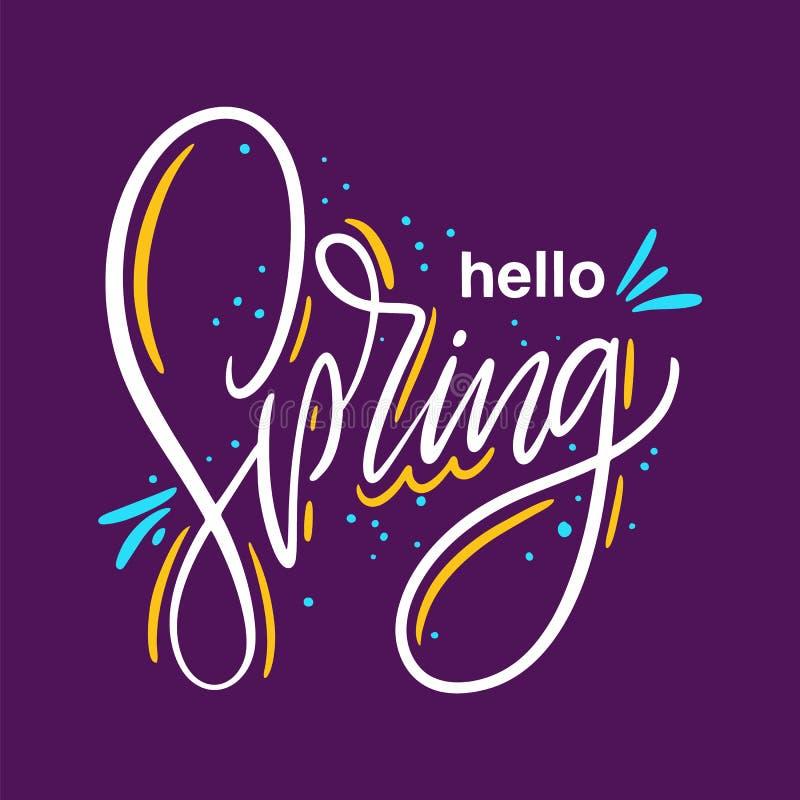 Здравствуйте весна r Мотивационная вдохновляющая цитата Иллюстрация вектора изолированная на пурпуре бесплатная иллюстрация