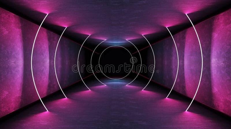 夜总会内灯3d渲染激光演出 发光线 抽象荧光背景 霓虹房走廊 皇族释放例证