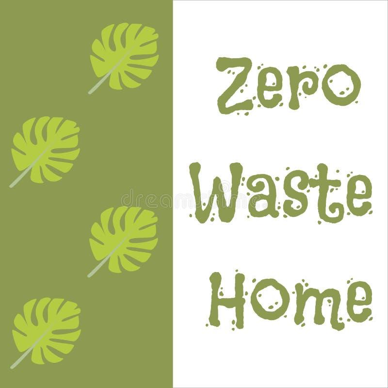 零的废家hadwritten在房子剪影的字法 传染媒介eco概念例证 保护象传染媒介 库存例证