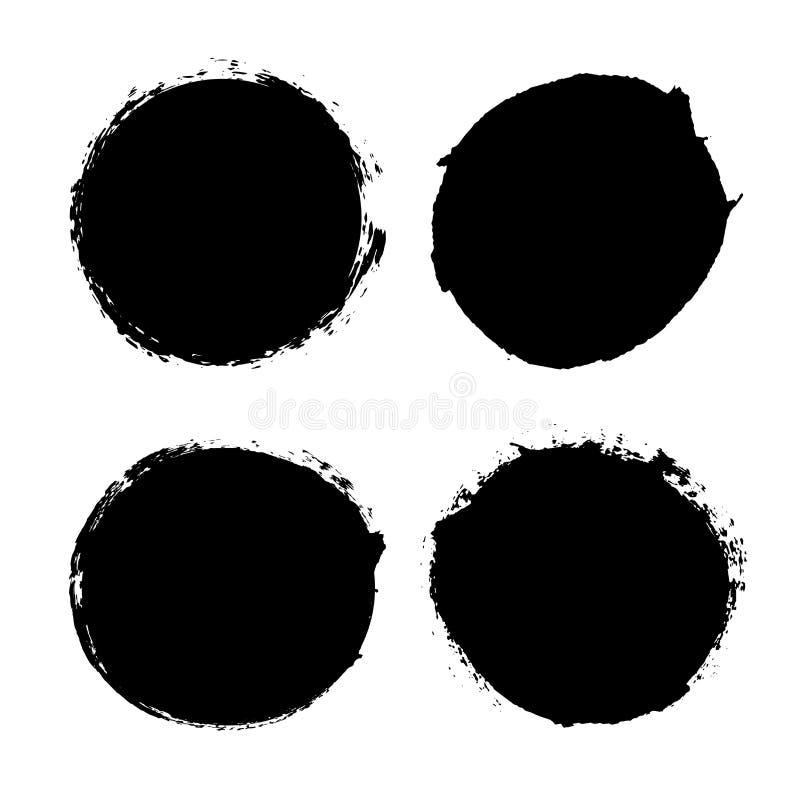 画笔笔触集孤立的白色背景 圆形黑色画笔 格朗格纹理圆形描边 墨水污渍设计 皇族释放例证