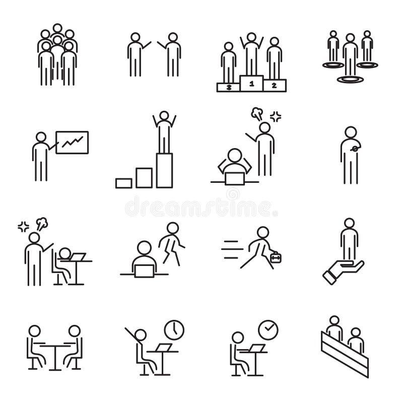 Οι άνθρωποι στον εργασιακό χώρο λεπταίνουν το καθορισμένο διάνυσμα εικονιδίων γραμμών Γραφείο και διοικητική έννοια Σημάδι και θέ διανυσματική απεικόνιση