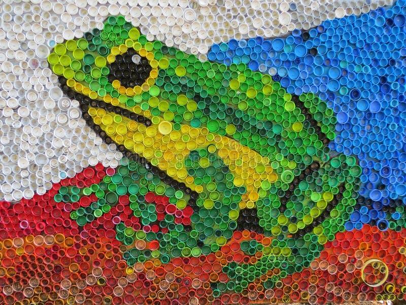 彩塑瓶盖的背景 塑料废物污染 环境与生态平衡 垃圾艺术 库存图片